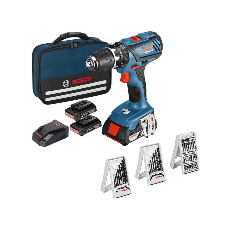 BOSCH Perceuse visseuse percu 18V 3x1,5Ah GSB18-2LI plus - 06019E7101
