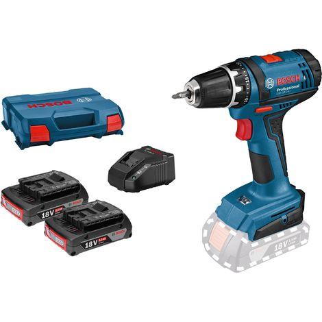 Bosch Perceuse-visseuse sans fil GSR 18-2-LI, 2 batteries GBA 18V 2.0Ah, chargeur AL 1820 CV - 06019B7305