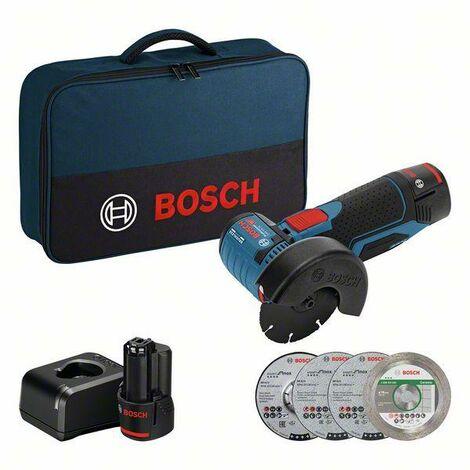 Bosch Smerigliatrice Angolare a batteria GWS 12V-76, con 2 x 2.0 Ah Li-Ion batteria e caricabatteria - 06019F200C