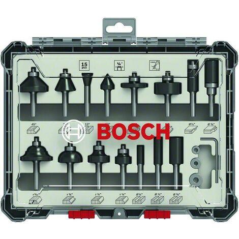 Bosch Professional Kits de fraises mixtes, 15 pièces, disponible en 3 diamètres de queue : 6 mm, 8 mm, 1/4 pouce - 2607017473