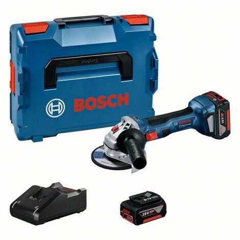 Bosch Professional Meuleuse angulaire sans fil GWS 18V-7 Professional, 2 x batteries GBA 18V 4.0Ah, Chargeur rapidein L-BOXX - 06019H9005