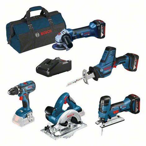 Bosch Professional Set combiné : GSR 18V-28 + GST 18V-LI S + GWS 18-125V-LI + GKS 18 V-LI + GSA 18 V-LI C + 3 batteries GBA 4,0 Ah + GAL 18V-40 + sac à outils - 0615990L59
