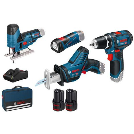 Bosch Professional Set de 4 outils - 12V: GSR + GSA + GST + GLI + 2 x GBA 12V 2.0Ah + GAL - 0615990M06