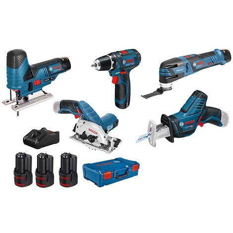 Bosch Professional Set de 5 outils - 12V: GSR + GST + GOP + GKS + GSA + 3x GBA 3.0Ah + GAL + XL-BOXX - 0615A0017C