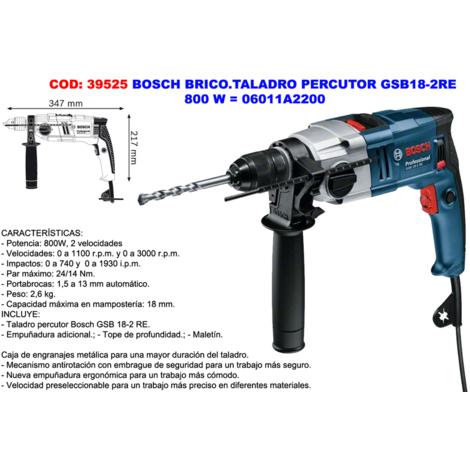 BOSCH PROF.TALADRO PERCUSION GSB18-2RE=800W 06011A2200
