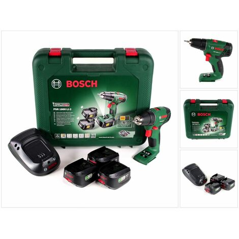Bosch PSR 1800 Li-2 Perceuse-visseuse sans fil 18 V + Coffret de transport + 3x Batteries 1.5 Ah + Chargeur ( 06039A3102 )