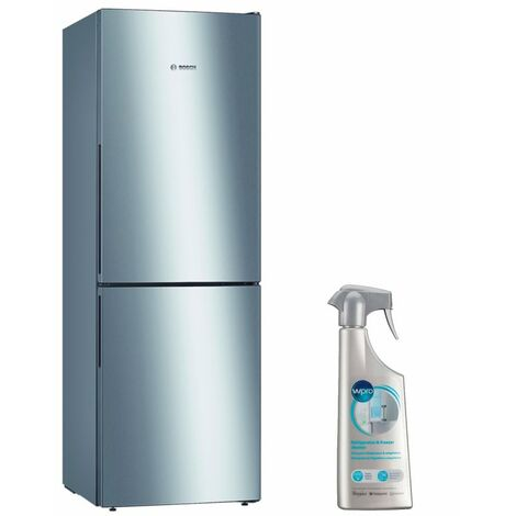 BOSCH réfrigérateur frigo combiné inox 287L froid brassé Eclairage LED - Inox