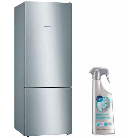 BOSCH Réfrigérateur frigo combiné inox 500L Froid brassé Largeur 70cm - Inox