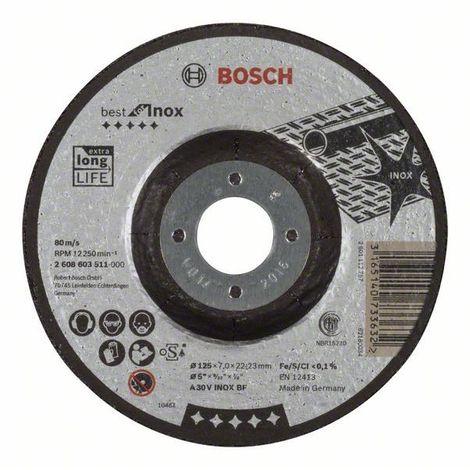 Bosch Schruppscheibe gekröpft 7 mm 22,23 mm 125 mm Best Inox A 30 V INOX BF