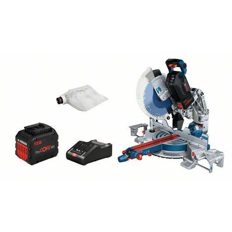 Bosch Scie à onglets sans-fil BITURBO GCM18V-305 GDC: 2x batteries 12.0Ah, Chargeur rapide - 0601B43001