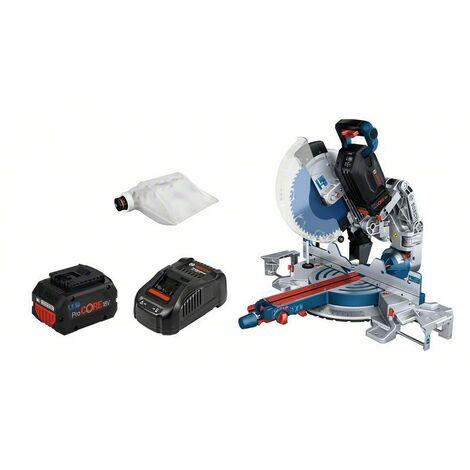 Bosch Scie à onglets sans-fil BITURBO GCM18V-305 GDC: 2x batteries 5.5Ah, Chargeur rapide - 0601B43002