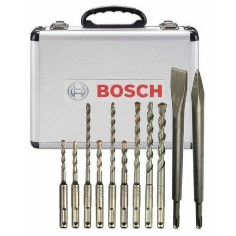 Bosch Set de forets et de burins 11pcs, SDS-Plus, dans un coffret en aluminium - 2608578765