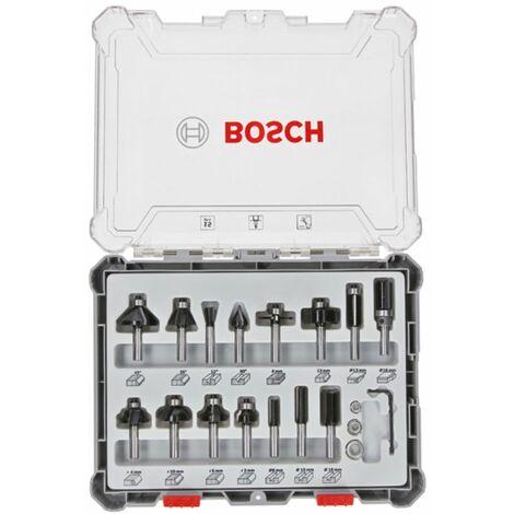 Bosch Set de fraises pour travail ? la main. 8 mm filetage. 15 pi?ces