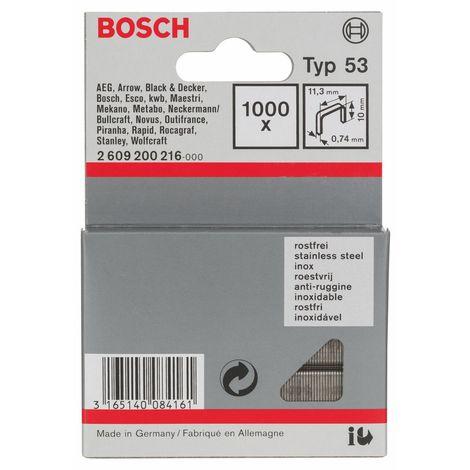 BOSCH, Set graffe per graffettatrice tipo 53 11,4 x 0,74 x 10 mm - 2609200216