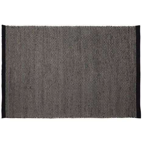 Bosie small woven rug,cotton & wool mix,black colour