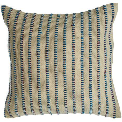 Bosie woven stripe cushion,cotton & viscose mix,indigo blue colour