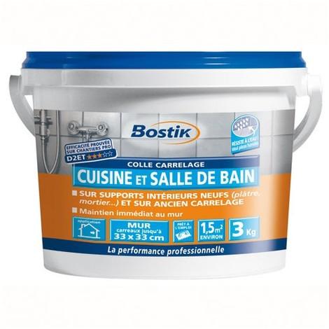 BOSTIK - Colle carrelage - cuisine et salle de bain - blanc - 3 Kg