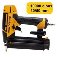 BOSTITCH BT1855SP-E CLOUEUR DE FINITION + 10000 clous 18GA (5000 clous 30mm + 5000 clous 50mm)