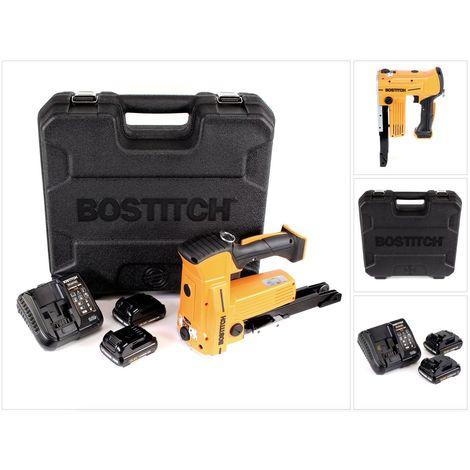 Bostitch DSA-3522-E 10,8 V Akku Kartonverschlusshefter Karton Tacker im Koffer + 2x 1,5 Ah Akku + Ladegerät