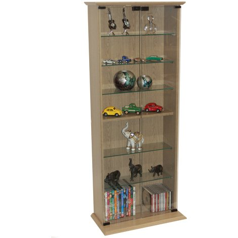 BOSTON - 116 DVD/ 344 CD Book Storage Shelves Glass / Collectable Display Cabinet - Oak