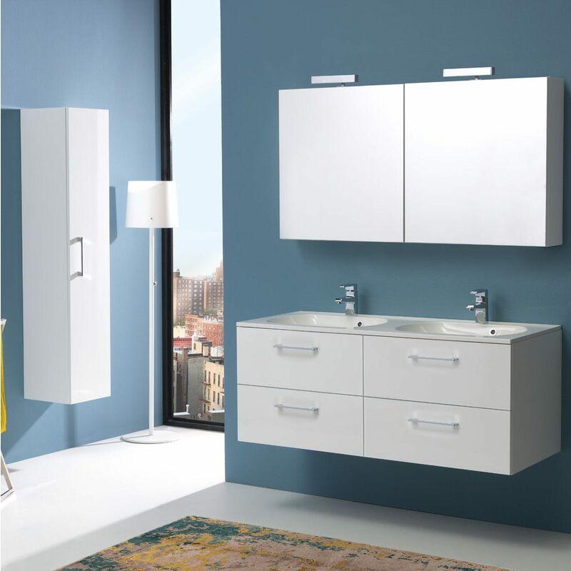 Boston Badmöbel 120 Cm Mit 4 Schubladen Weiß Mit Licht Und Spiegelschrank - KIAMAMI VALENTINA