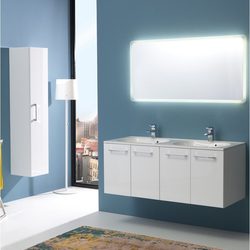 Boston Badmöbel 120 Cm Mit 4 Türen Mit Spiegel-Led Weiß Lackiert - KIAMAMI VALENTINA
