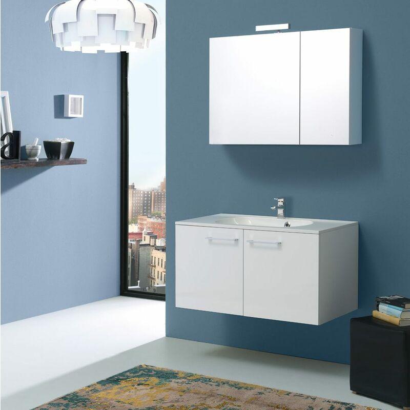 Boston Badmöbel 90 Cm Mit Türen Weiss Mit Licht Und Spiegelschrank