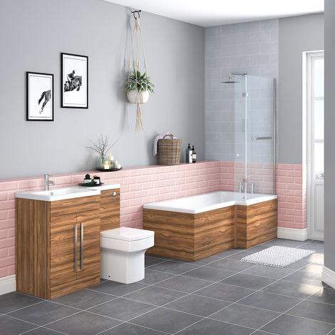 Boston Bathroom Suite with LH Walnut Vanity Unit & RH L Shape Shower Bath