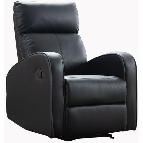Boston Black Leather 1 Seater Recliner Sofa