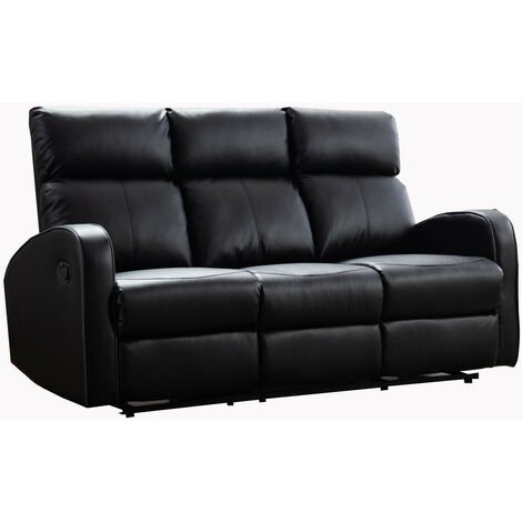 Boston Black Leather 3 Seater Recliner Sofa
