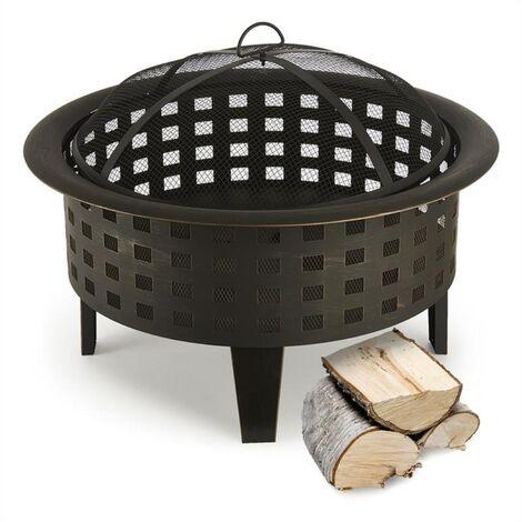 Boston Braséro jardin chauffage exterieur barbecue Ø 70cm acier noir