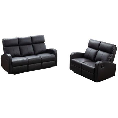 Boston Brown Leather 3+2 Seater Recliner Sofa Set