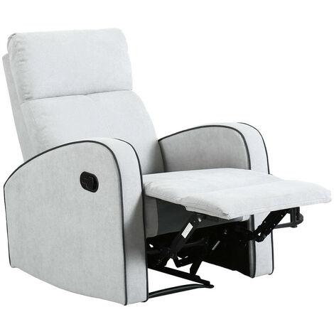 Boston Dove Grey Fabric 1 Seater Recliner Sofa