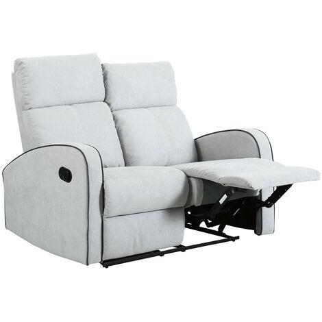 Boston Dove Grey Fabric 2 Seater Recliner Sofa