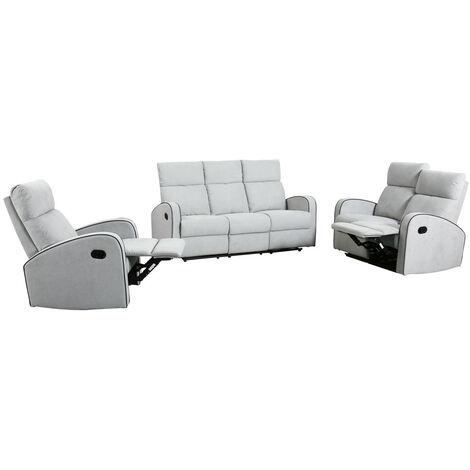 Boston Dove Grey Plush Fabric 3+2+1 Seater Recliner Sofa Set