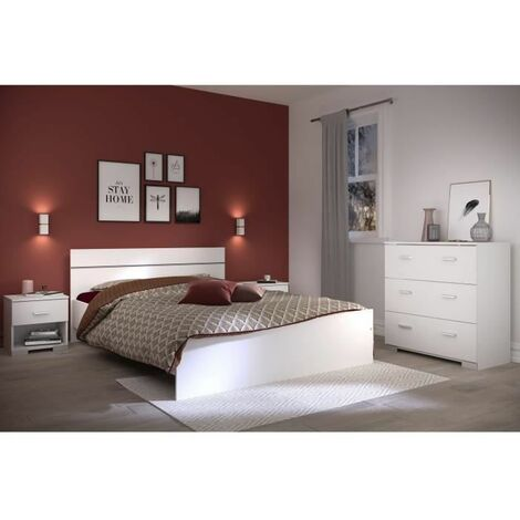 BOSTON Ensemble chambre lit 140x190 cm + 2 chevets + 1 commode - Blanc