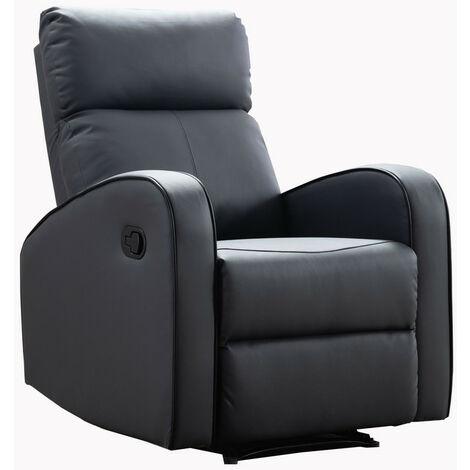 Boston Grey Leather 1 Seater Recliner Sofa