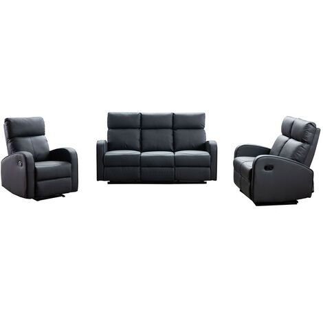 Boston Grey Leather 3+2+1 Seater Recliner Sofa Set