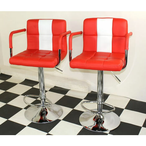 Boston Retro Style Bar Stool American Diner Style Red Padded Seat Height Adjustable