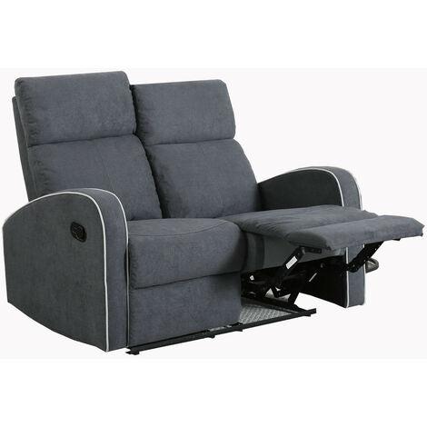 Boston Slate Grey Fabric 2 Seater Recliner Sofa