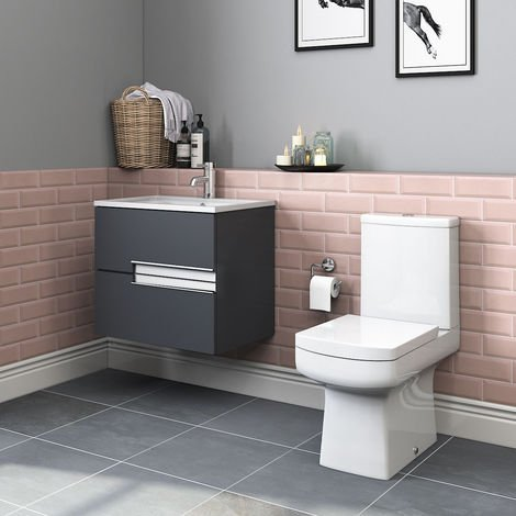 Boston Toilet & Grey Vanity Unit Cloakroom Suite