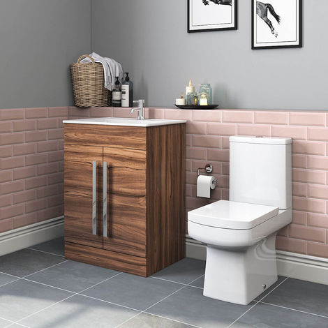Boston Toilet & Walnut Wall Hung Vanity Unit Cloakroom Suite