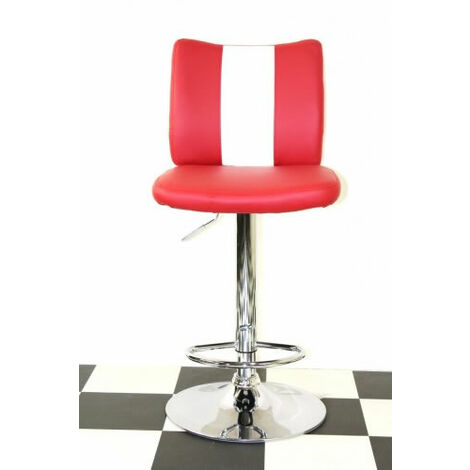 Bostony Retro Style Bar Stool American Diner Style Red Padded Seat Height Adjustable