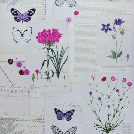 Botanic Newspaper Wallpaper Floral Violet Butterfly Graham Brown