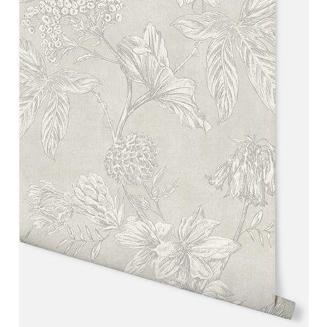 Botanic Silver Wallpaper - Arthouse - 902702