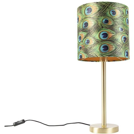 Botanical Table Lamp Brass with 25cm Peacock Print Shade - Simplo