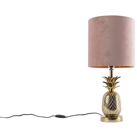 Botanical table lamp gold with velor shade pink 25 cm - Tropical