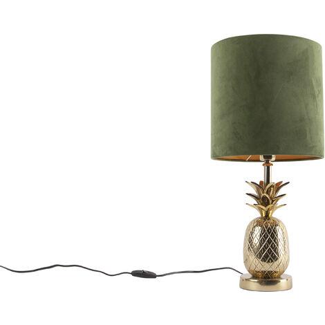 Botanical table lamp gold with velvet shade green 25 cm - Tropical