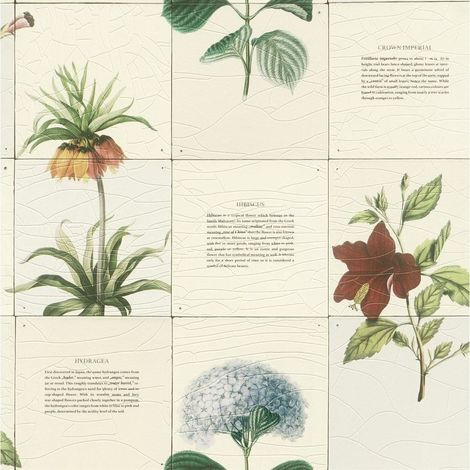 Botanical Tile Effect Wallpaper Rasch Textured Vinyl Plant Flower Kitchen