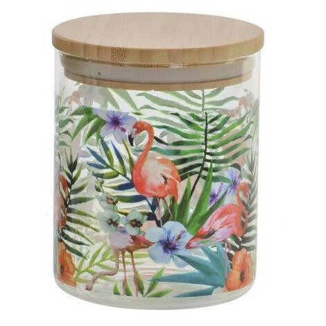 Bote de Cristal con Tapa de Bambú, colorido. Diseño Flamenco/Tucán 700ML, Estilo Tropical, (10X2,5 CM).-Hogarymas- B